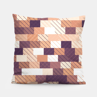 Imagen en miniatura de Solid brick wall with diagonal crossed lines, redwod and eggplant colored print Pillow, Live Heroes
