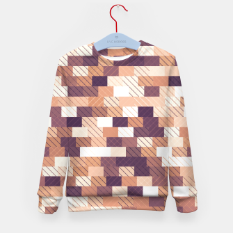 Miniaturka Solid brick wall with diagonal crossed lines, redwod and eggplant colored print Kid's sweater, Live Heroes