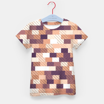 Miniaturka Solid brick wall with diagonal crossed lines, redwod and eggplant colored print Kid's t-shirt, Live Heroes
