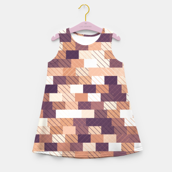 Miniaturka Solid brick wall with diagonal crossed lines, redwod and eggplant colored print Girl's summer dress, Live Heroes