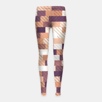 Miniaturka Solid brick wall with diagonal crossed lines, redwod and eggplant colored print Girl's leggings, Live Heroes