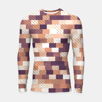 Imagen en miniatura de Solid brick wall with diagonal crossed lines, redwod and eggplant colored print Longsleeve rashguard , Live Heroes