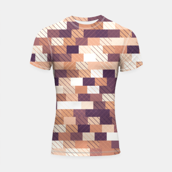 Imagen en miniatura de Solid brick wall with diagonal crossed lines, redwod and eggplant colored print Shortsleeve rashguard, Live Heroes