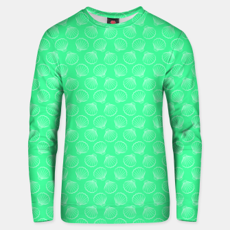 Thumbnail image of Tropical shells pattern in seafoam green, summer fresh print Unisex sweater, Live Heroes