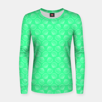 Thumbnail image of Tropical shells pattern in seafoam green, summer fresh print Women sweater, Live Heroes