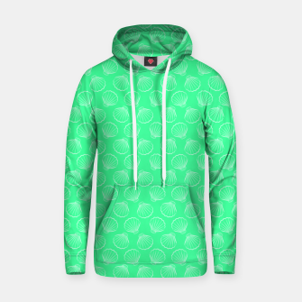 Thumbnail image of Tropical shells pattern in seafoam green, summer fresh print Hoodie, Live Heroes