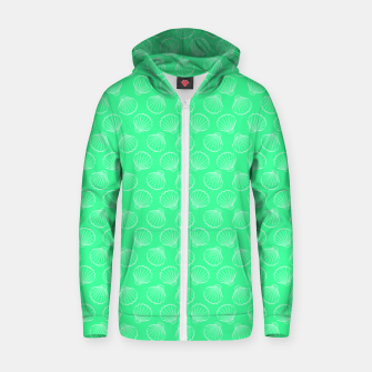 Thumbnail image of Tropical shells pattern in seafoam green, summer fresh print Zip up hoodie, Live Heroes