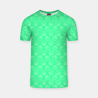 Thumbnail image of Tropical shells pattern in seafoam green, summer fresh print T-shirt, Live Heroes
