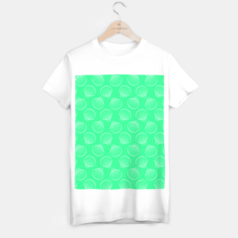 Thumbnail image of Tropical shells pattern in seafoam green, summer fresh print T-shirt regular, Live Heroes