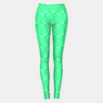Thumbnail image of Tropical shells pattern in seafoam green, summer fresh print Leggings, Live Heroes
