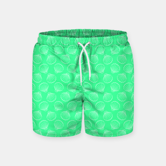 Thumbnail image of Tropical shells pattern in seafoam green, summer fresh print Swim Shorts, Live Heroes