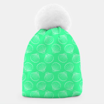 Thumbnail image of Tropical shells pattern in seafoam green, summer fresh print Beanie, Live Heroes