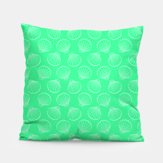 Thumbnail image of Tropical shells pattern in seafoam green, summer fresh print Pillow, Live Heroes
