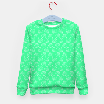 Thumbnail image of Tropical shells pattern in seafoam green, summer fresh print Kid's sweater, Live Heroes