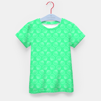 Thumbnail image of Tropical shells pattern in seafoam green, summer fresh print Kid's t-shirt, Live Heroes