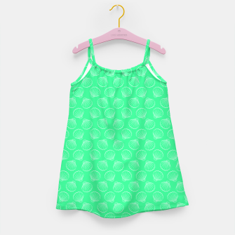 Thumbnail image of Tropical shells pattern in seafoam green, summer fresh print Girl's dress, Live Heroes