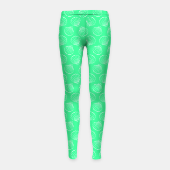 Thumbnail image of Tropical shells pattern in seafoam green, summer fresh print Girl's leggings, Live Heroes