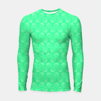 Thumbnail image of Tropical shells pattern in seafoam green, summer fresh print Longsleeve rashguard , Live Heroes