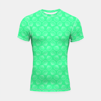 Thumbnail image of Tropical shells pattern in seafoam green, summer fresh print Shortsleeve rashguard, Live Heroes