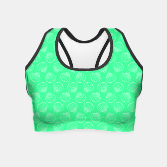 Thumbnail image of Tropical shells pattern in seafoam green, summer fresh print Crop Top, Live Heroes