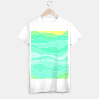 Thumbnail image of Ocean sunrise, waves in blue and green print T-shirt regular, Live Heroes