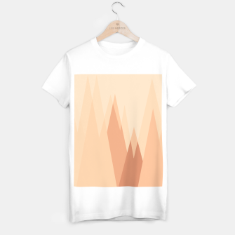 Thumbnail image of Silhouettes, sunrise over mountain peaks, contemporary landscape illustration in soft colors T-shirt regular, Live Heroes