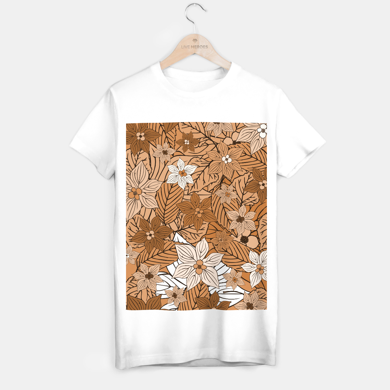 Foto Autumn mood with flowers and leaves in brown and beige romantic illustration and a little bit nostalgia T-shirt regular - Live Heroes