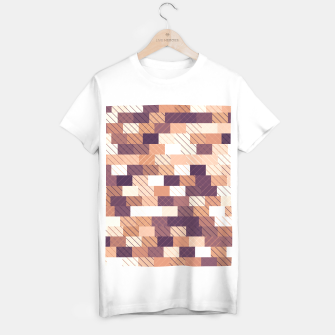 Miniaturka Solid brick wall with diagonal crossed lines, redwod and eggplant colored print T-shirt regular, Live Heroes
