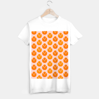 Thumbnail image of Art tulips blossoming, orange and pink print T-shirt regular, Live Heroes