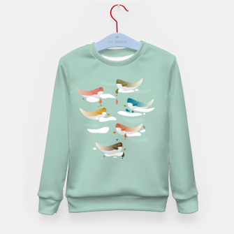Miniaturka Whales fly in 1970 Kid's sweater, Live Heroes