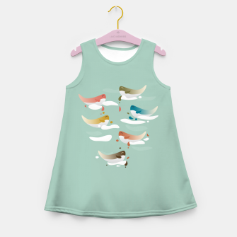 Miniaturka Whales fly in 1970 Girl's summer dress, Live Heroes