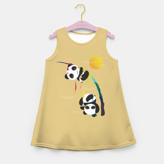 Thumbnail image of Pandas meet a strange rainbow Girl's summer dress, Live Heroes