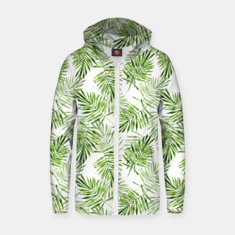 Miniaturka Green palm leaves Zip up hoodie, Live Heroes