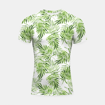 Miniaturka Green palm leaves Shortsleeve rashguard, Live Heroes
