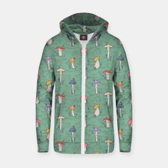 Miniatur Afternoon forest meeting of the mushroom cats Zip up hoodie, Live Heroes