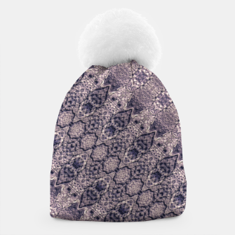 Miniatur Violet Textured Mosaic Ornate Print Beanie, Live Heroes