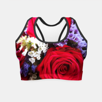 Thumbnail image of bouquet of rose and perturbed Crop Top, Live Heroes