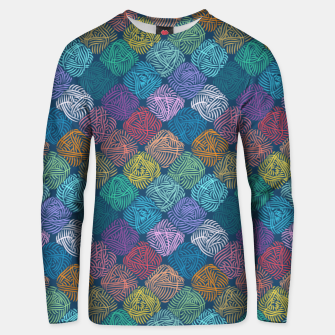 Thumbnail image of Yarnoholic paradise in ocean blue Unisex sweater, Live Heroes