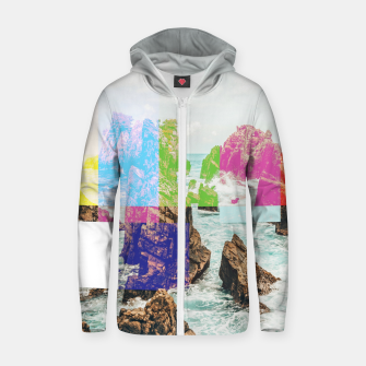 Thumbnail image of Virtual Sky Glitch Zip up hoodie, Live Heroes