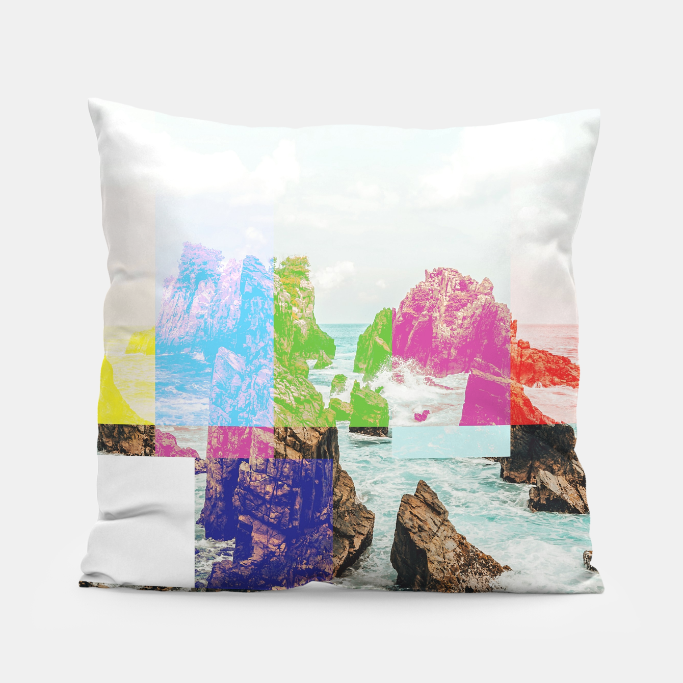 Image of Virtual Sky Glitch Pillow - Live Heroes