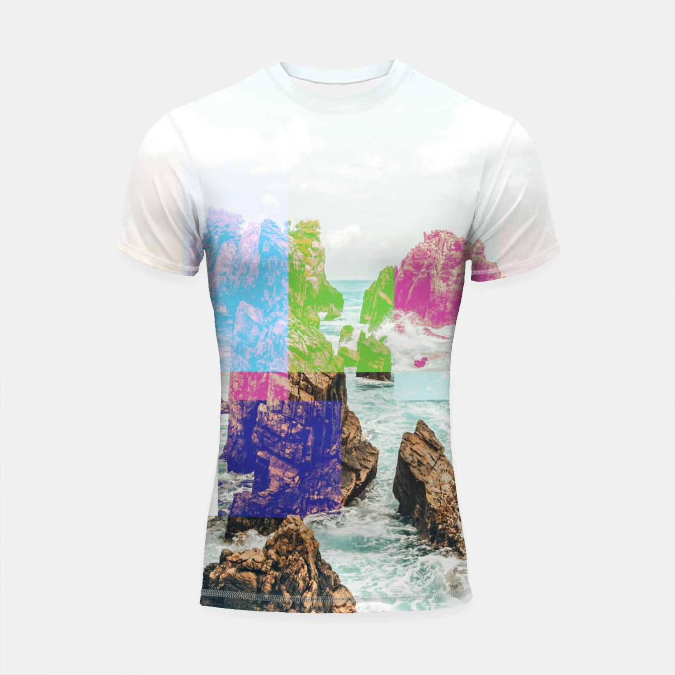 Image of Virtual Sky Glitch Shortsleeve rashguard - Live Heroes
