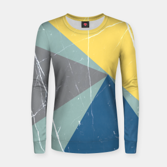 Thumbnail image of Pattern Effet Triangles Bleu/Jaune/Gris Pull femme , Live Heroes