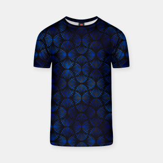 Thumbnail image of Vintage Foil Palm Fans in Classic Blue and Black Art Deco Neo Classical Pattern T-shirt, Live Heroes
