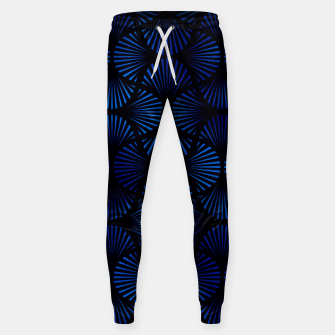 Thumbnail image of Vintage Foil Palm Fans in Classic Blue and Black Art Deco Neo Classical Pattern Sweatpants, Live Heroes