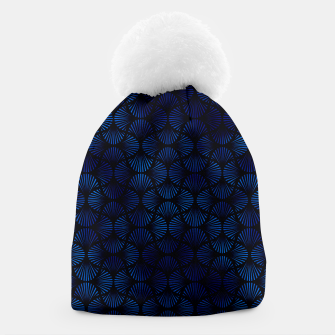 Thumbnail image of Vintage Foil Palm Fans in Classic Blue and Black Art Deco Neo Classical Pattern Beanie, Live Heroes