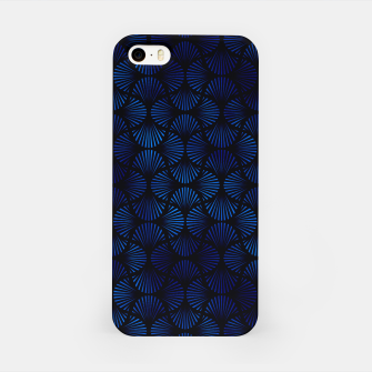Thumbnail image of Vintage Foil Palm Fans in Classic Blue and Black Art Deco Neo Classical Pattern iPhone Case, Live Heroes