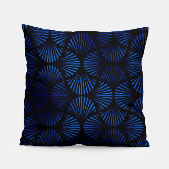 Thumbnail image of Vintage Foil Palm Fans in Classic Blue and Black Art Deco Neo Classical Pattern Pillow, Live Heroes