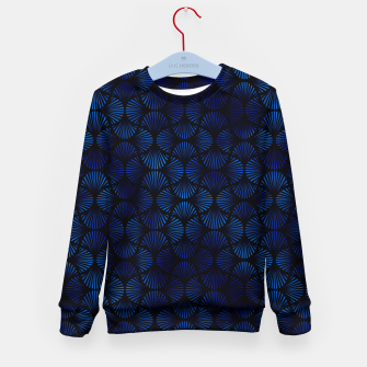 Thumbnail image of Vintage Foil Palm Fans in Classic Blue and Black Art Deco Neo Classical Pattern Kid's sweater, Live Heroes