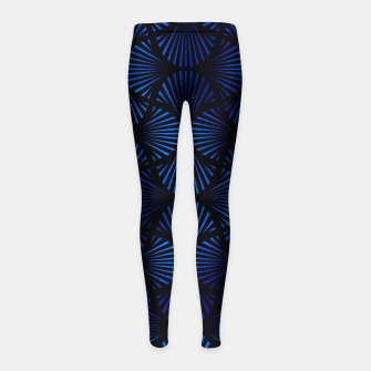 Thumbnail image of Vintage Foil Palm Fans in Classic Blue and Black Art Deco Neo Classical Pattern Girl's leggings, Live Heroes