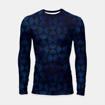 Thumbnail image of Vintage Foil Palm Fans in Classic Blue and Black Art Deco Neo Classical Pattern Longsleeve rashguard , Live Heroes